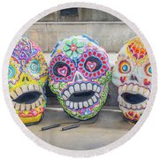 Sugar Skulls Round Beach Towel