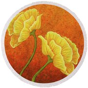 Round Beach Towel featuring the painting Sultry Sway by Amy E Fraser