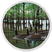 Summer Among The Cypress Round Beach Towel