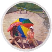 Summer At Jersey Valley Round Beach Towel