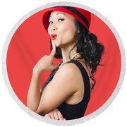 Summer Beauty Wearing Red Vintage Hat Round Beach Towel