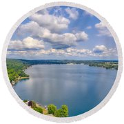 Summer Clouds On Keuka Lake Round Beach Towel