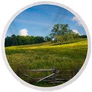 Blue Ridge Parkway - Summer Fields Of Yellow - Lone Tree Round Beach Towel