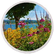 Summer Flowers Vancouver 1 Round Beach Towel