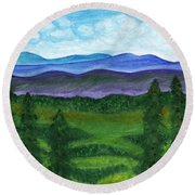 View From A Mountain Slope To Distant Mountains And Forests Round Beach Towel