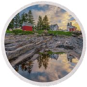 Summer Morning At Pemaquid Point Lighthouse Round Beach Towel