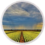 Summer Storm In The Corn Fields Round Beach Towel