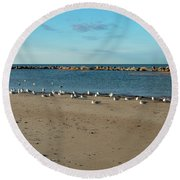 Sun Bathers At Corporation Beach Cape Cod Round Beach Towel