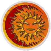 Sun Eclipsing The Moon Round Beach Towel