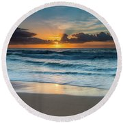 Sun Glow Seascape Round Beach Towel