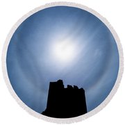 Sun Halo Over Aberystwyth Castle Tower Round Beach Towel