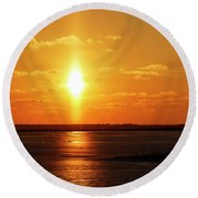 Round Beach Towel featuring the photograph Sun Pillar 01 by Rob Graham