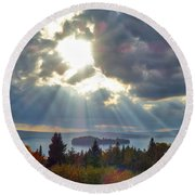 Sun Rays Over Rangeley Lake Round Beach Towel