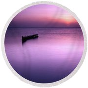 Sun Sets On A Sunken Boat Round Beach Towel