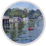 Sunday At The Canal Round Beach Towel