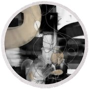 Sunday Morning Large Modern Black And White Abstract Painting Round Beach Towel