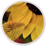 Sunflower And Leaves Round Beach Towel