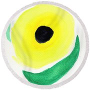 Round Beach Towel featuring the painting Sunflower by Bee-Bee Deigner