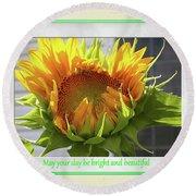 Sunflower Birthday Round Beach Towel