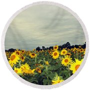 Round Beach Towel featuring the photograph Sunflower Fields by Candice Trimble