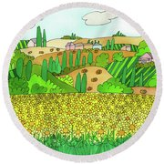 Sunflower French Countryside Round Beach Towel
