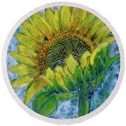 Sunflower Happiness Round Beach Towel