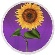 Sunflower On Purple Round Beach Towel