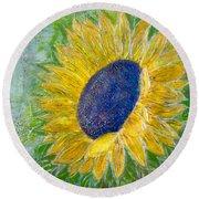 Sunflower Praises Round Beach Towel