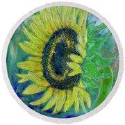 Sunflower Smiles Round Beach Towel