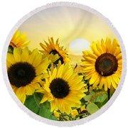 Sunflowers And Sunshine Round Beach Towel