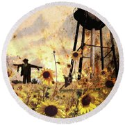 Sunflowers At Dusk Round Beach Towel