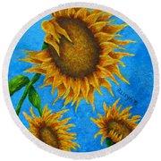 Sunflowers Round Beach Towel
