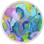 Sunny Day Abstract Round Beach Towel