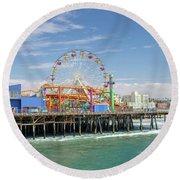 Sunny Day On The Santa Monica Pier Round Beach Towel