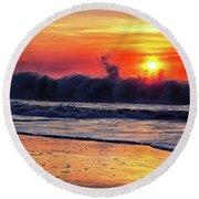 Round Beach Towel featuring the photograph Sunrise At 142nd Street Beach Ocean City by Bill Swartwout Fine Art Photography