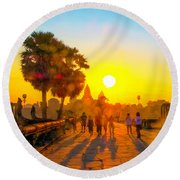 Sunrise At Angkor Wat, Cambodia Round Beach Towel