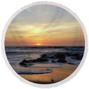 Sunrise At The 15th St Jetty Round Beach Towel