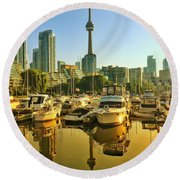 Sunrise At The Harbour Round Beach Towel
