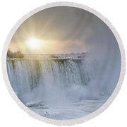 Sunrise In Niagara Falls Round Beach Towel