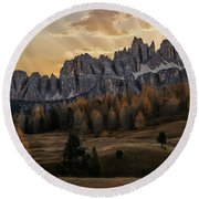 Sunrise In The Dolomites Round Beach Towel