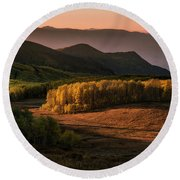 Sunrise In The Fall Mountains Of Utah Round Beach Towel