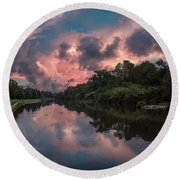 Sunrise On The River Round Beach Towel