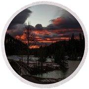 Sunrise Over Cascade Ponds, Banff National Park, Alberta, Canada Round Beach Towel