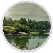 Round Beach Towel featuring the photograph Sunrise Over Casco Bay by Guy Whiteley