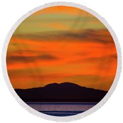 Sunrise Over Santa Monica Bay Round Beach Towel