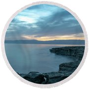 Before Dawn At The Dead Sea Round Beach Towel