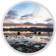 Sunrise Over The Marsh Round Beach Towel