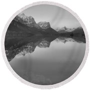 Sunrise Reflections Across St. Mary Lake Black And White Round Beach Towel