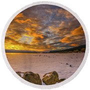 Sunrise Rocks Round Beach Towel