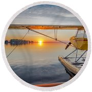 Sunrise Seaplane Round Beach Towel